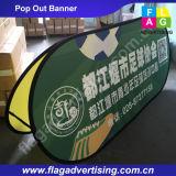 引き込み式フルカラーの印刷の屋外のカスタムファブリックによっては旗の立場が現れる