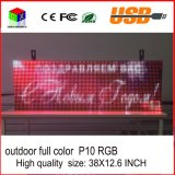 P10RGB Outdoor Full Color LED Sign USB Informação de rolamento programável Display LED 38X12.6 Inch