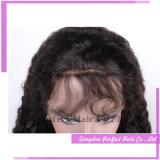 Malaysian 비꼬인 꼬부라진 Glueless 실크 레이스 정면 가발