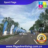 Bandiera esterna su ordinazione della spiaggia che fa pubblicità alla bandierina della piuma