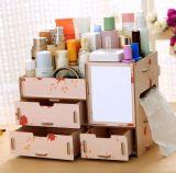 Casella di memoria da tavolino di legno multifunzionale creativa di DIY, casella cosmetica di legno