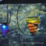 Jardín de cristal colorido de la decoración 2016 que cuelga luces solares
