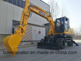 Escavadora De Rodas 8.5ton Yellow 0.3cbm Bucket for Sale