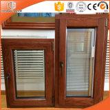 Acabado de grano de madera Ventana de aluminio, estilo americano Manivela plegable Manija Ventana de aluminio revestida de madera del marco