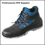 Altos zapatos de seguridad del ESD de la inyección de la PU del cuero genuino del tobillo