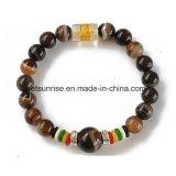 La pietra semi preziosa ha barrato il braccialetto intagliato Buddha bordato agata
