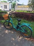 Bicyclette électrique de ville de 26 pouces avec batterie centrale de panier avant