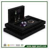 Dienblad van de Juwelen van het Leer van de luxe het Met de hand gemaakte Zwarte Pu
