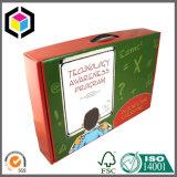 Коробка цветастой гофрированной бумага чемодана упаковывая с пластичной ручкой