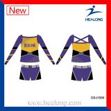 Jogos baratos dos uniformes do Cheerleading de Cusotm do Sublimation das meninas