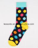 Glückliche Socken-Unisexbaumwolle punktiert Form-lange Socken