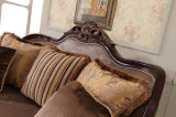 Sofá de madeira clássico da tela da sala de visitas com tabela antiga
