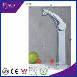 Fyeer High Arc Simple poignée et trou Robinet de salle de bain chromé Robinet de lavabo Robinet mélangeur à eau