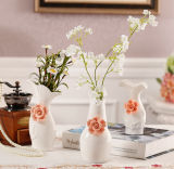 Accessori decorativi di Office&Home di fiore del vaso di ceramica bianco di ceramica del vaso