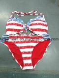 Rote Farbe druckte den reizvollen Strand-Bikini für Frauen/Mädchen und schwamm Abnützung-Badeanzug/Büstenhalter