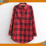 Рубашка фланели втулки кофточек повелительниц хлопка фабрики длинняя для женщин