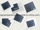Gerader Ausschnitt optisches schwarzes Microfiber Putztuch mit heißem Stempel-Silber-Firmenzeichen