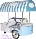 イタリアのステッカーのアイスキャンデー/アイスクリームのGelatoのゼラチンのショーケース/Lollyの表示はトロリーフリーザーを運ぶ