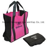 Réutilisables bon marché en bloc en gros portent les sacs à provisions pliables estampés par coutume promotionnelle amicale d'emballage de tissu non-tissé de sac de client d'épicerie de supermarché d'Eco de sac