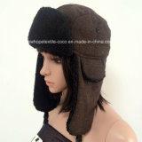 熱い販売のロシアのわな猟師の冬の帽子、印刷または明白な材料