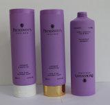 Tubo cosmético plástico púrpura para el champú con el tapón de tuerca dorado