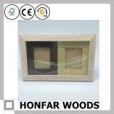 Frame da foto da madeira de faia branca com 2 frames de retrato pequenos