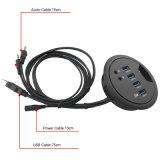 고속 4 포트 USB 3.0 2 바탕 화면을%s 오디오 힘 접합기 케이블을%s 가진 비용을 부과 허브 확장