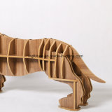 A novidade monta a tabela de madeira do lado do cão quente dos ofícios