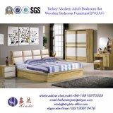 가죽 (SH-001#)를 가진 중국 침실 가구 현대 1인용 침대