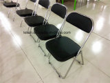 Silla plegable de acero con respaldo acolchado y asiento (LL-0031)