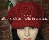 Tampão do chapéu do vendedor de jornais de Newsgirl das mulheres Slouchy do teste padrão do chapéu do Crochet da mão