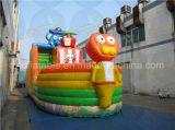 Corrediça inflável barata do navio de pirata, corrediça animal das crianças do tema