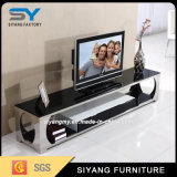 居間の家具LCD TVのキャビネット表ガラスTVの立場