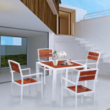Formas de lazer ao ar livre Mobília do pátio Sala de estar Madeira plástica Alloy Alumínio Mesa e cadeira