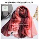 Madame occidentale Scarf Factory de mode de coton de couleur de gradient du type 2017