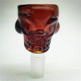 Nuevo color cráneo Redondos bol de vidrio por fumar pipas de cristal