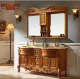 Gabinete de assoalho de mogno espanhol do banheiro da madeira contínua do estilo (GSP9-008)