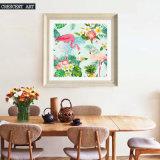 Arte della parete della stampa della tela di canapa dei fenicotteri e dei fiori