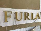 Титан алюминиевой нержавеющей стали металла латунный изготовил загоранный габаритный знак письма 3D