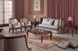 Il sofà antico del tessuto ha impostato con il blocco per grafici di legno