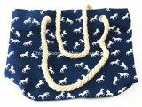 Sacola ocasional da corda das mulheres da praia d bolsa de lona