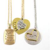 Нержавеющая сталь 2 сердца привесных формы способа серебра лучших друг ожерелья навсегда