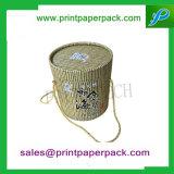 Cinta de lujo de encargo de la flor que empaqueta alrededor de la caja de cartón del embalaje del regalo del papel del tubo del sombrero