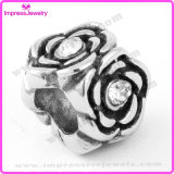 Moda Europeu Prata Bead Oxidation Finish Flower Bead