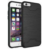 Hybride Dekking met het Geval van de Telefoon van Kickstand van de Groef van de Kaart voor iPhone