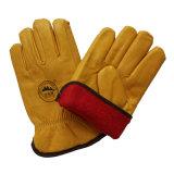 Gants de gestionnaire de sûreté de l'hiver de cuir de graines de vache avec la pleine garniture