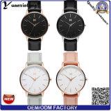 Reloj ocasional del suizo del reloj de la manera del acero inoxidable del reloj de la alineada de las señoras del cuero genuino del Mvmt del reloj de la mano de las mujeres de la promoción Yxl-268