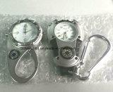 Reloj multifuncional mosquetón de plástico con luz de fondo Brújula