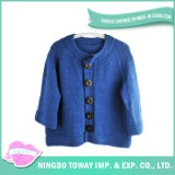 Camisola do branco de lãs do Knit do Crochet da veste do casaco de lã das mulheres da forma