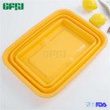 Panier compressible de mémoire d'usine de vaisselle de cuisine de silicones de catégorie comestible